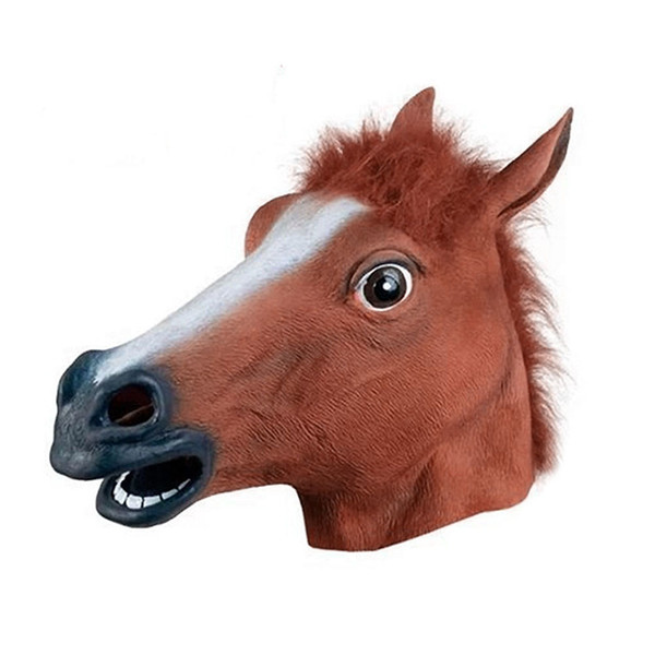 Realistic Horse Head Masks Full Head Fur Mane Latex Creepy Animal Mask For Halloween Party Costume Props For Drop Shipp T8190617