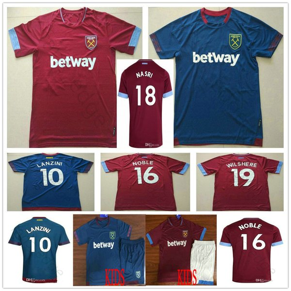 2019 West Ham United Football Jersey Arnautovic Lanzini Snodgrass Nasri  Noble Chicharito Ayew Home Away Custom 18 19 Adult Kids Soccer Shirt bfe9221d0