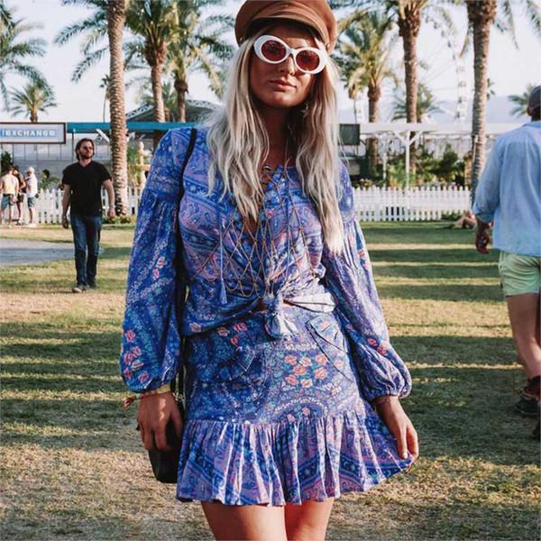 Gonne a vita bassa con luci a vita bassa Gonne a vita bassa di Boho Hippie Beach Gonna donna vintage con stampa estiva