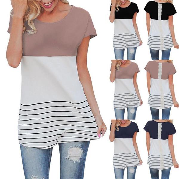 donne abbigliamento T-shirt Lady O-Collo manicotto lungo nero a contrasto di colore a strisce rappezzatura del merletto della tunica Tops maglietta femminile