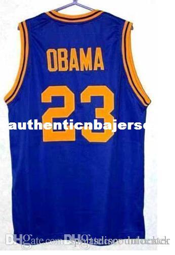 Factory Outlet Cheap custom high-quality 23 BARACK OBAMA HIGH SCHOOL Basketball Jerseys blue White Retro Throwbacks Stitched Personalized Cu