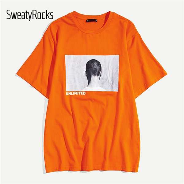 SweatyRocks Men Letter and Figure Print Tee Streetwear Orange Preppy Mens T-shirts Fashion Clothing 2019 Summer Casual Male Tees