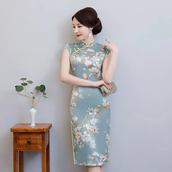 1df3321a7 New Midi Qipao Spring Summer Dress Women elegant Print Cheongsams female  Model SHOW Party Traditional Chinese