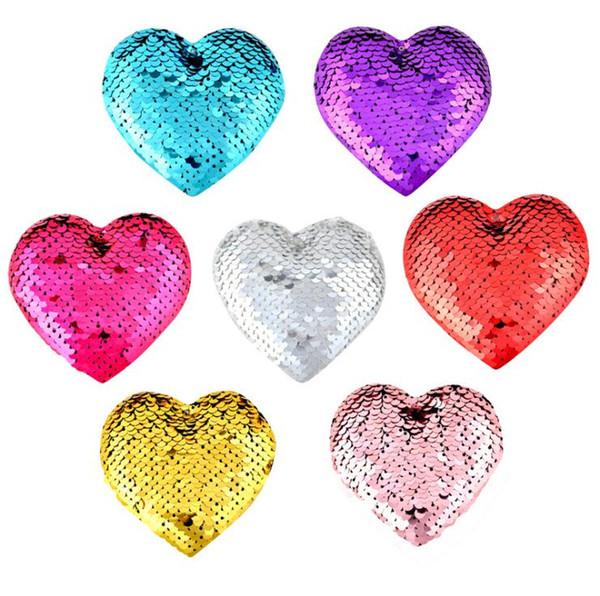 Fashion Cute Heart Design Scales Sequins Hair Bow Women Hairpins Girl Hair Clips Kids Headwear Accessories