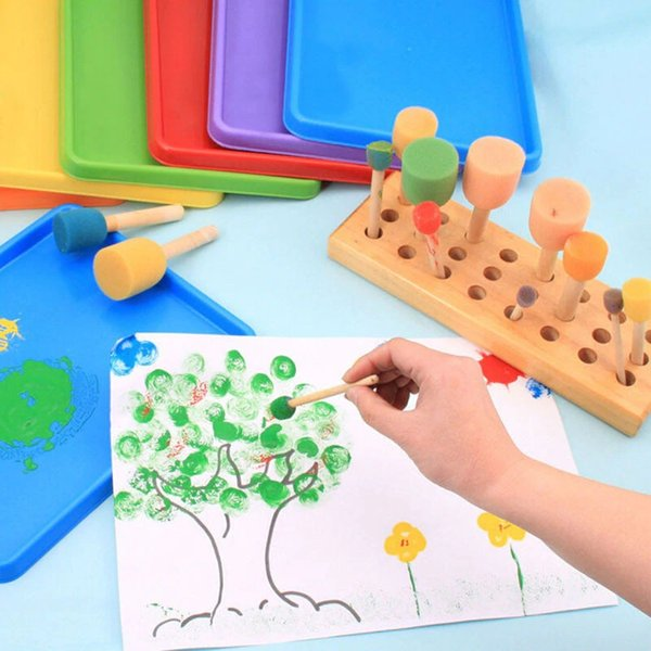 4PCS Sponge yellow Paint Brush Wooden Handle Painting Graffiti Kids DIY Doodle Toys Art Children Painting Tool Drawing Toys