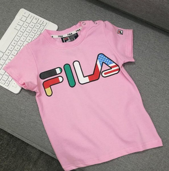 2019 summer Fashion Fen new fashion children anti-collar pink short-sleeved T-shirt imported cotton fabric letter Z tile pattern