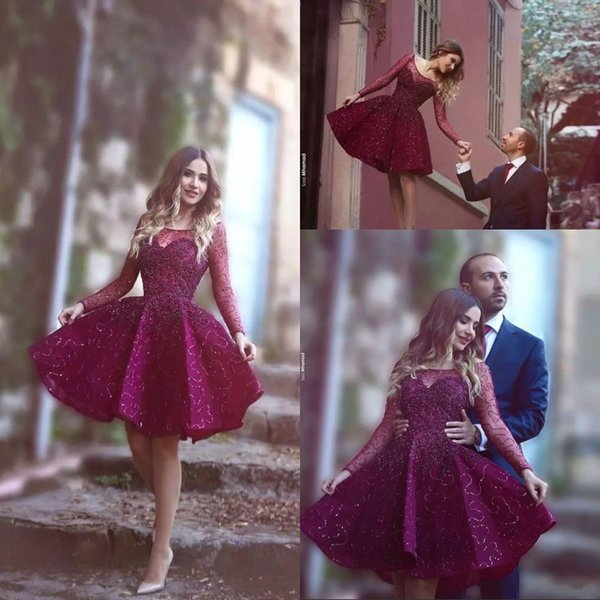 Stunning 2019 Girls Cocktail Party Dresses Bateau Neck Long Sleeve Puffy Skirt Shiny Sequined Fabric Burgundy Short Prom Dresses