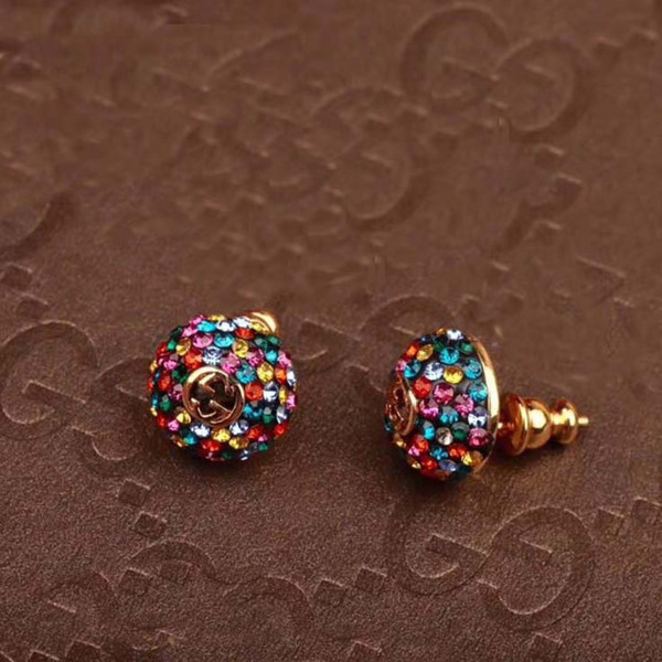 New arrival colourful circular women stud handmade with all diamond and hollow words design fashion ear stud beautiful jewelry gift PS5774