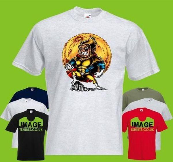 Super Monkey Mens PRINTED T-SHIRT Cartoon Hero Strong mens pride dark white black grey red trousers t shirt