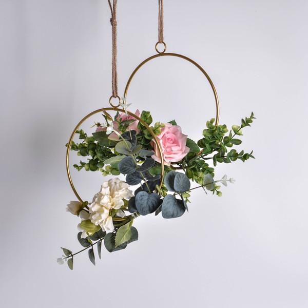 2 Unids / lote Decoración de la boda Guirnalda geométrica de hierro forjado adorno colgante Flores de rosas artificiales Guirnalda para accesorios de decoración del hogar