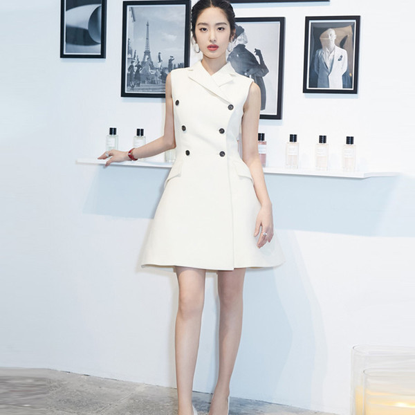 Suit dress new brand summer star style same fashion thin white waist sleeveless OL high quality work business party on sale free shipping