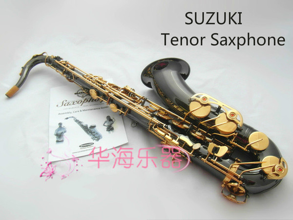 New Arrival SUZUKI Bb Tone Tenor Saxophone Professional Performance Musical Instruments Brass Black Nickel Gold Sax with Case Mouthpiece