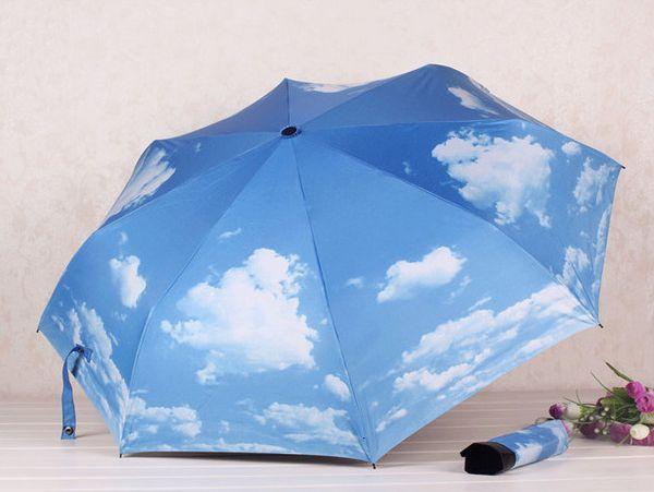 Fashion blue sky sun rain anti-uv adult men women 3 folding umbrella stroller outdoor durable free shipping