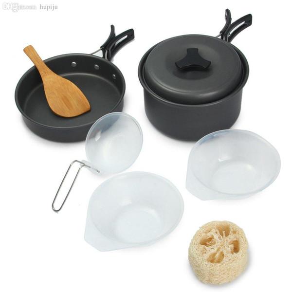 Toptan-8pcs Yüksek Kalite Taşınabilir yapışmaz Tencere Tavalar Açık Kamp Yürüyüş Pişirme Seti CookwareS Kaseler