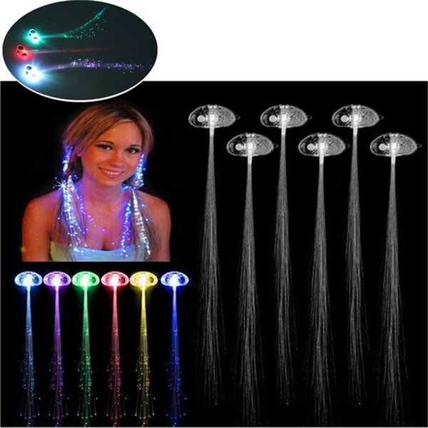 Luminous Light Up LED Hair Extension Flash Braid Party Girl Colorful Hair Glow by Fiber Optic Christmas Halloween Night Light Decoration new