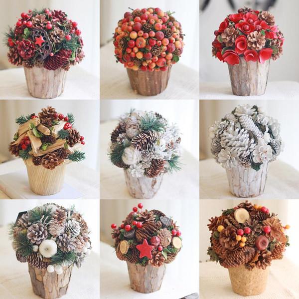 Compre Decoración De Navidad Mesa De Flores Centro De Mesa Flores Secas Decoración Del Hogar Flores Preservadas Flores Artesanales Decoración De Otoño