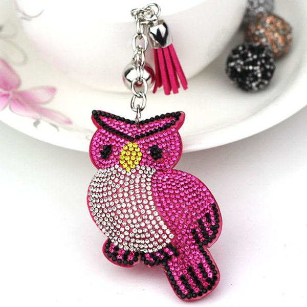 Cute flannel Crystal Owl keychain Metal Tassel Fashion Pendant Key Chain Woman Bag Accessories Gifts Holder Keyring J2335