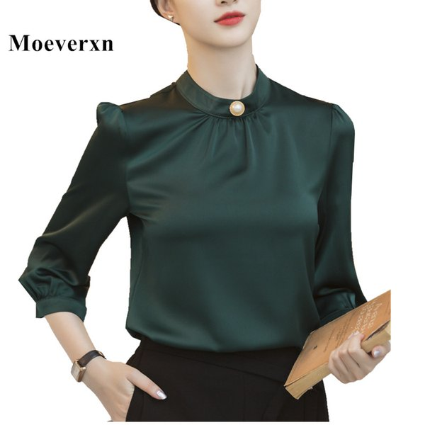 Fashion solid color shirt women Dark green High quality chiffon three quarter blouse office ladies formal Slim plus size tops