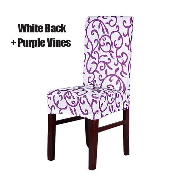 White and Purple Stretch Chair Cover
