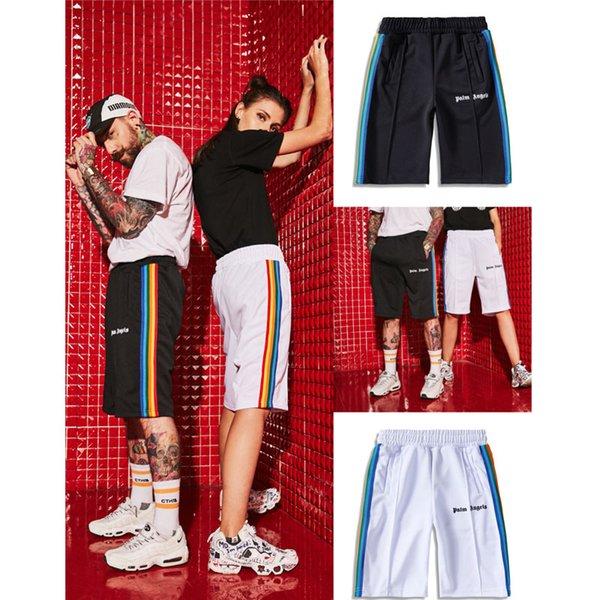 Pantaloncini di angeli di palma stile estivo nuovi arrivati Donna Uomo Pantaloncini a strisce arcobaleno di angeli di palma plaid streetwear di alta qualità