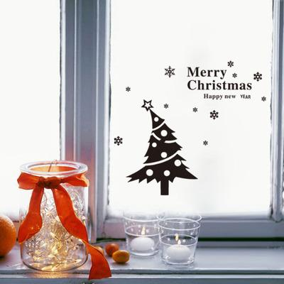 2019 New Foreign Trade Christmas Tree Living Room Bedroom Window Glass Decoration Wall Stiker Can Be Removed
