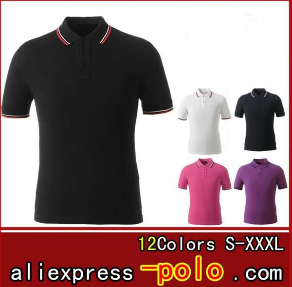 Polos T-shirts Männer 2019 Gestreiftes design revers Kurzarm Normallack Herren Sport Polo Shirts Freies Schiff Baumwolle Kurze Stilvolle