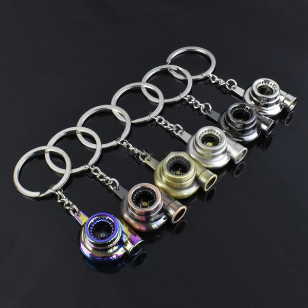 Hot selling Turbo Keychain Spinning Turbo Turbine Turbocharger Keychain Key Chain Ring Keyring Keyfob Keyrings 7 Colors Free Shipping
