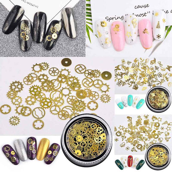 1 Bottle 3D Gold Metal Slices Nail Art Decoration Christmas Snowflake Star Mixed Design Hollow Tiny Slice Nail Accessories