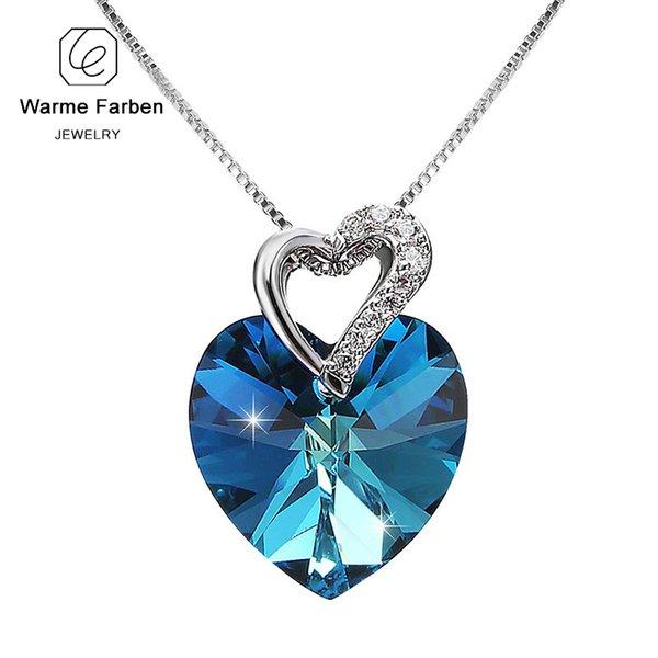 Warme Farben De Swarovski Mujeres Joyería Fina Corazón Azul Collar Colgante de Cristal Regalo del Día de San Valentín C19041101