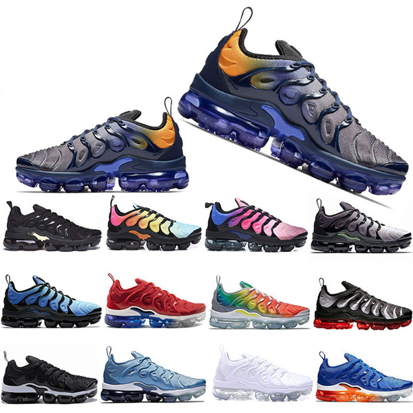 2019 New TN Plus Running Shoes Mens Women Game Royal Rainbow bleached aqua TRIPLE WHITE BLACK Fades Blue VOLT Trainer Designer Sneakers