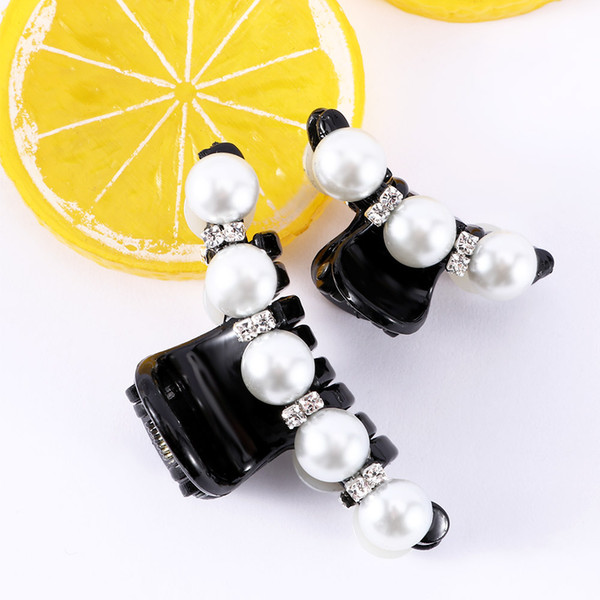 2Pcs Elegant Black Hair Claw Clip Crystal Pearl Plastic Hairpin Barrette New Hair Band Accessories for Women Girls Styling