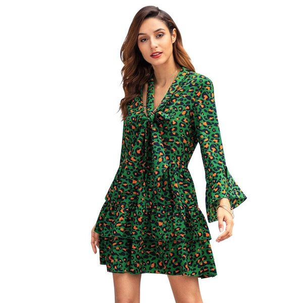2019 recién llegado vestido estampado de leopardo de las mujeres primavera verano con cuello en V Bow-Knot manga larga mini vestido de fiesta