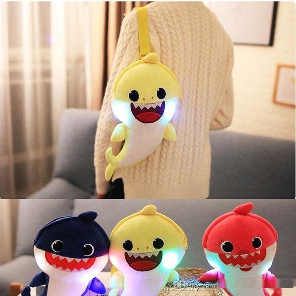 Baby Shark Shoulder Bag With Light Music Sing Entire Song Plush Toys Corssbody Bag Backpacks Cute Cartoon School Bag