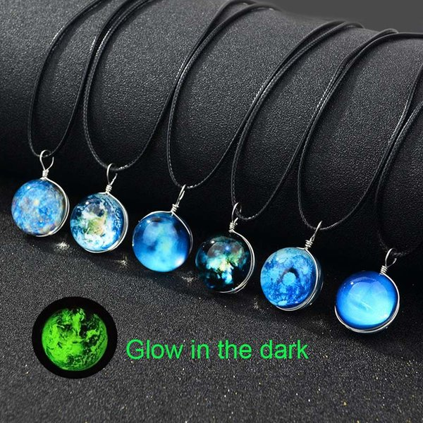 Luminous Glow in the dark Galaxy Universe Necklace Star Moon Glass Cabochon Necklaces Pendants Fashion Jewelry K3402