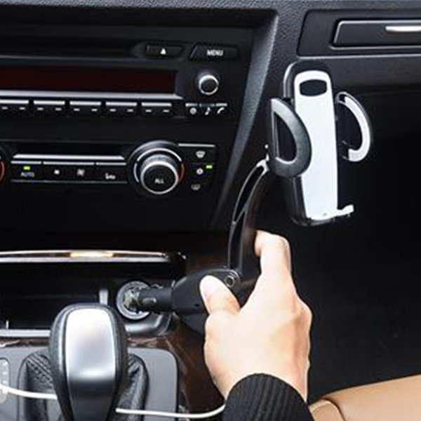 Dual USB Car Charger Holder Mount With Cigarette Lighter Chargers for Cell Phone Holder