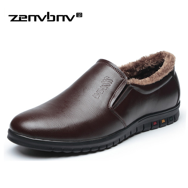 2018 Men plush fur dress shoes wedding Working Office Pointed toe business leather Oxford shoes Winter Keep Warm snow boots