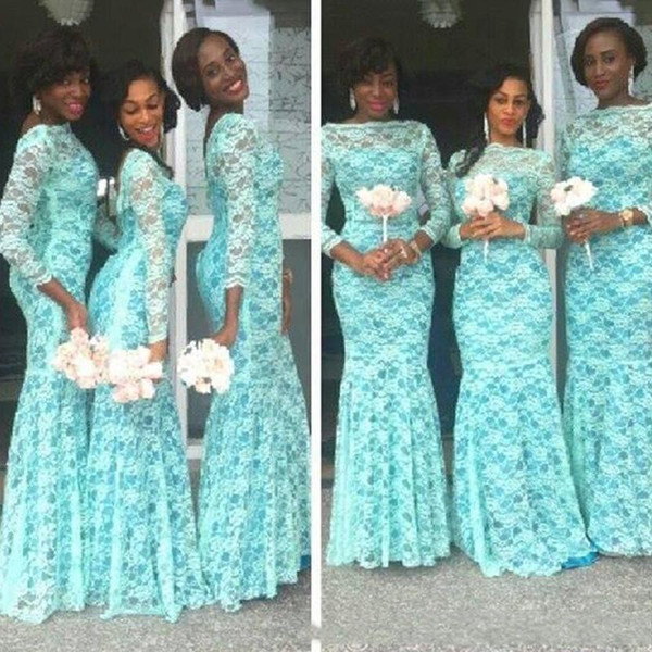 Turquoise Mermaid Bridesmaid Dresses 2018 African For Wedding Crew Neck Full Lace 3/4 Long Sleeves Backless Floor Length Maid Of Honor Gowns