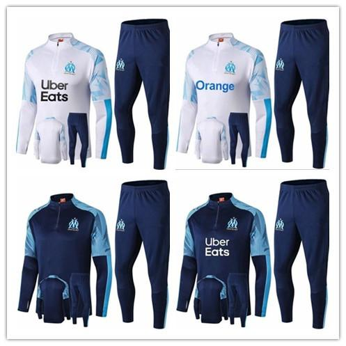 new 2019 20 Olympic Marseille Tracksuit Soccer Jogging Football Tops Coat Pants Sports Training 19 20 Suit Men Adults OM Football Track Suit