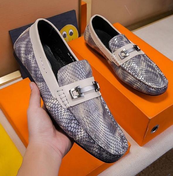 Nuevo diseñador de hombres 2019 piel de serpiente gris negro cuero genuino slip en oxfords, zapatos de vestir de boda de negocios de moda de marca 38-44 envío de la gota