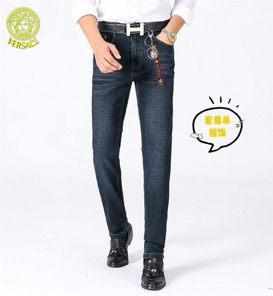 Джинсы 2019 мужские талии брюки молодежные бизнес осень и зима новый прямые брюки моды высокого класса A33zh87879796