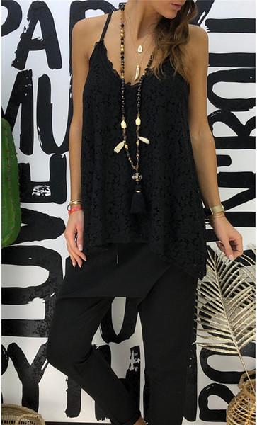 Condole Belt Lace Tshirts Sleeveless V-Neck Backless Designer Sexy Tops Fashion Women Summer Female Clothes Vest