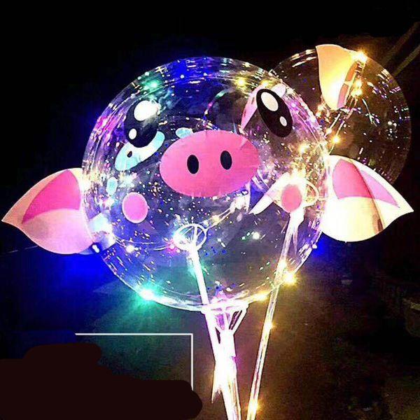 2019 Valentinstag LED BOBO Ballon Cartoon Piggy Ballons mit Stick leuchtenden Ballonkugeln für Geburtstag Hochzeit Party Supplies 7 Farben