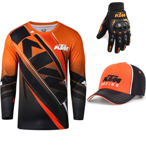 top popular For KTM Racing Team Motorcycle Long Sleeve T-Shirt Men Summer Dirt Bike Running Tops Motocross Outdoor Sports ATV MX Tee Shirt 2019
