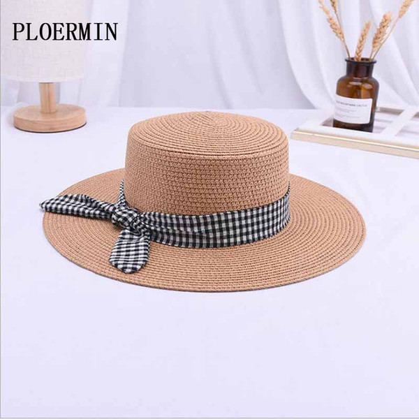 1978d5f3c 2019 Spring And Summer New Fashion Bow Knot Braided Flat Head Straw Hat  Lady Wide Eaves Sunscreen Sun Hat Beach Holiday Cap Funny Hats Hat World  From ...