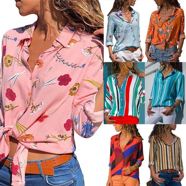 6882 free shipping women Blouses Best selling casual striped print V-neck long-sleeved chiffon shirt ladies shirt