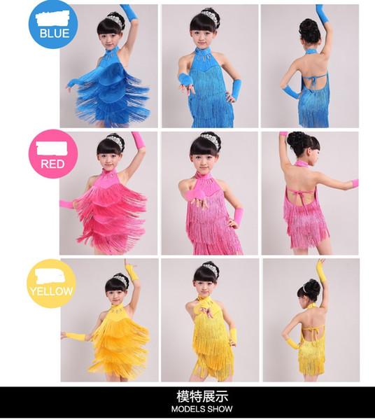 6 Sizes New Kids Sexy Tango Tassels Latin Dance Dress Performance Costume Girls Children Competition Clothing RH0005