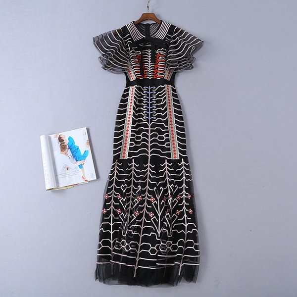 2019 Spring Mesh Short Sleeve Crew Neck Striped Print Embroidery Ribbon Bow Long Maxi Dress Luxury Runway Dresses D3A1908