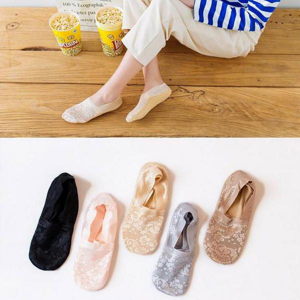 Coton mélangé de la mode des femmes dentelle antidérapante Invisible Low Cut chaussettes orteil cheville Sockstopki sur les chaussettes pour femmes