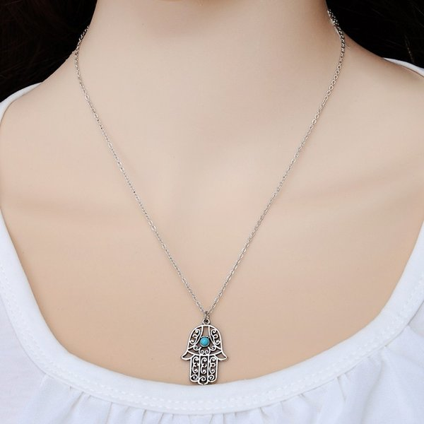 Hot sale Design Luck Hamsa Hand Pendants Necklace Luck Fatima Hand Palm Statement Necklace collares Wholesale K3462