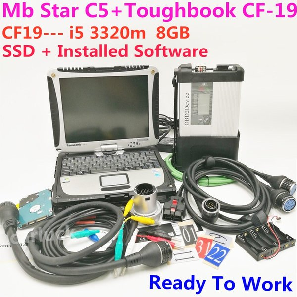 Hot MB Star C5 With SSD laptop cf-19 i5 3320m 8GB with MB Star SD C5 SD connect diagnostic tool 2018.12 c5 Software Expert Mode